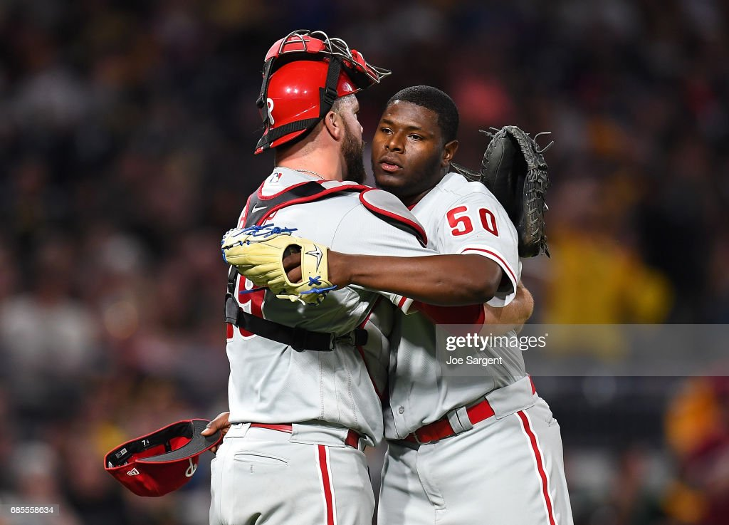 Hector Neris #50 celebrates with Cameron Rupp #29 of the Philadelphia Phillies after a 7-2 win over the Pittsburgh Pirates at PNC Park on May 19, 2017 in Pittsburgh, Pennsylvania.
