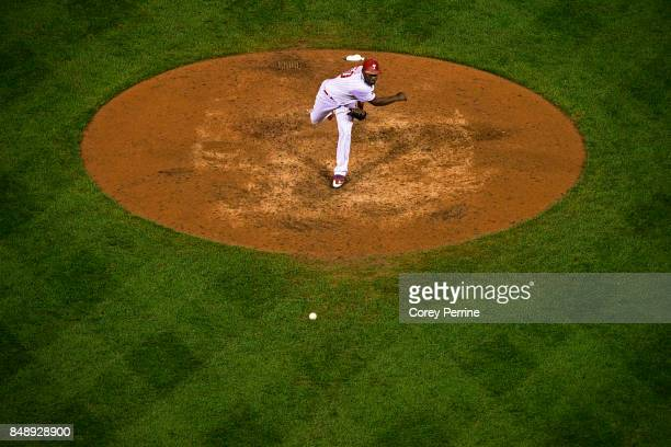 Hector Neris of the Philadelphia Phillies closes against the Oakland Athletics during the ninth inning at Citizens Bank Park on September 16 2017 in...