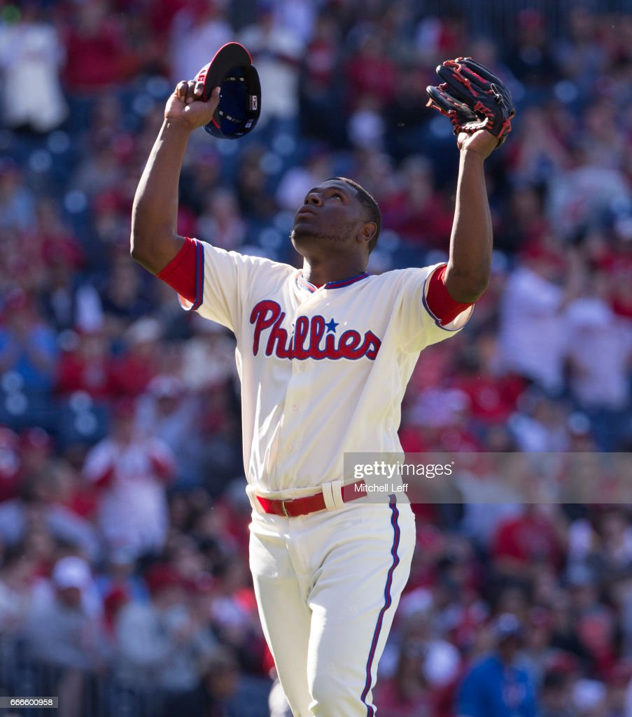Hector Neris #50 of the Philadelphia Phillies reacts after recording the last out in the top of the eighth inning against the Washington Nationals at Citizens Bank Park on April 9, 2017 in Philadelphia, Pennsylvania. The Phillies defeated the Nationals 4-3.