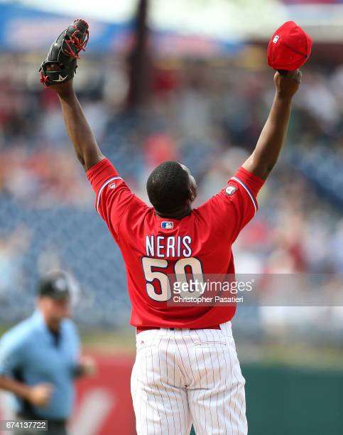 Hector Neris of the Philadelphia Phillies reacts after the final out of the game against the Miami Marlins on April 27 2017 at Citizens Bank Park in...