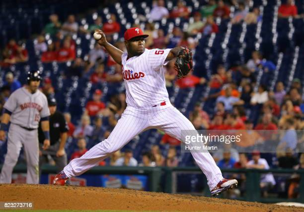 Hector Neris of the Philadelphia Phillies throws a pitch in the ninth inning during a game against the Houston Astros at Citizens Bank Park on July...