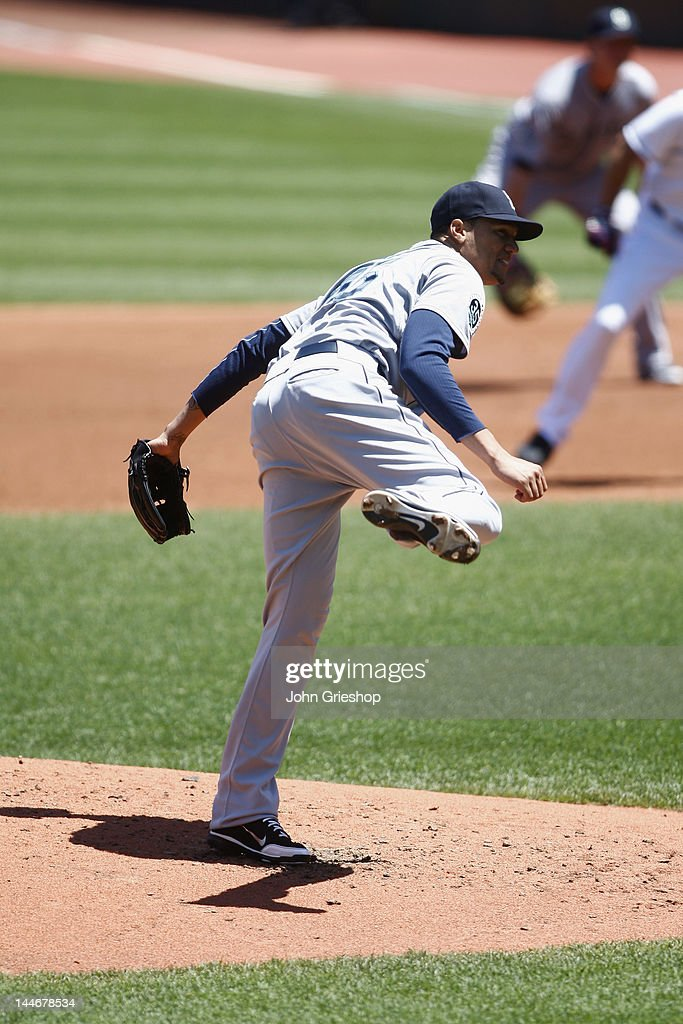 <a gi-track='captionPersonalityLinkClicked' href=/galleries/search?phrase=Hector+Noesi&family=editorial&specificpeople=6817647 ng-click='$event.stopPropagation()'>Hector Noesi</a> #45 of the Seattle Mariners pitches against the Cleveland Indians at Progressive Field on May 17, 2012 in Cleveland, Ohio.
