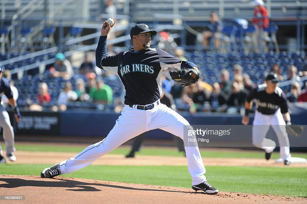 <a gi-track='captionPersonalityLinkClicked' href=/galleries/search?phrase=Hector+Noesi&family=editorial&specificpeople=6817647 ng-click='$event.stopPropagation()'>Hector Noesi</a> #45 of the Seattle Mariners pitches during the game against the San Diego Padres on Friday, February 22, 2013 at the Peoria Sports Complex in Peoria, Arizona. The Padres defeated the Mariners 9-3.