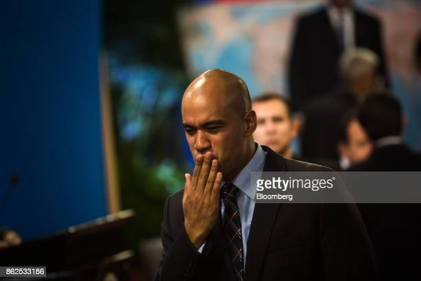 Hector Rodriguez United Socialist Party of Venezuela member and new governor of the state of Miranda blows a kiss while arriving ahead of a press...