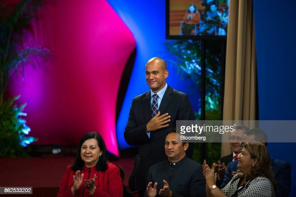 Hector Rodriguez United Socialist Party of Venezuela member and new governor of the state of Miranda center gestures during a press conference by...