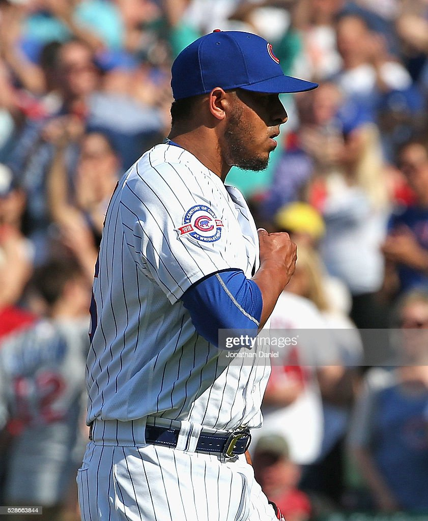 Hector Rondon #56 of the Chicago Cubs celebrates after picking up his fifth save of the season against the Washington Nationals at Wrigley Field on May 6, 2016 in Chicago, Illinois. The Cubs defeated the Nationals 8-6.