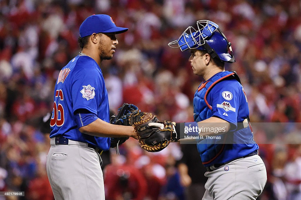Hector Rondon of the Chicago Cubs celebrates with Miguel Montero of the Chicago Cubs after the Chicago Cubs defeat the St Louis Cardinals in game two...
