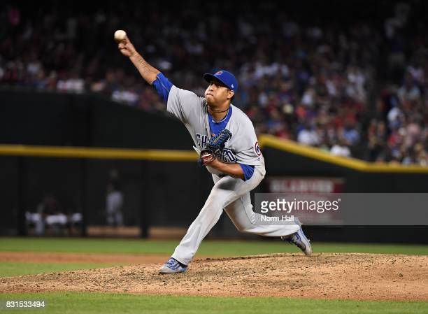 Hector Rondon of the Chicago Cubs delivers a pitch against the Arizona Diamondbacks at Chase Field on August 12 2017 in Phoenix Arizona