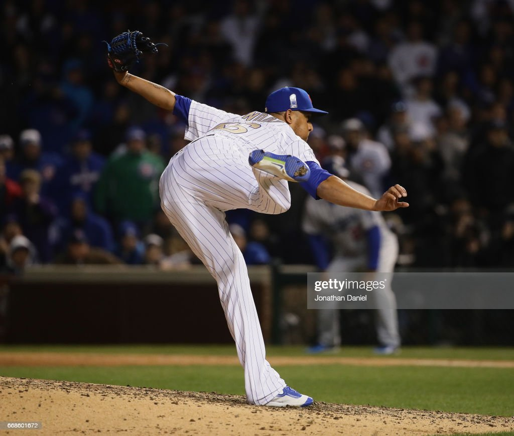 Hector Rondon #56 of the Chicago Cubs pitches against the Los Angeles Dodgers at Wrigley Field on April 12, 2017 in Chicago, Illinois. The Dodgers defeated the Cubs 2-0.