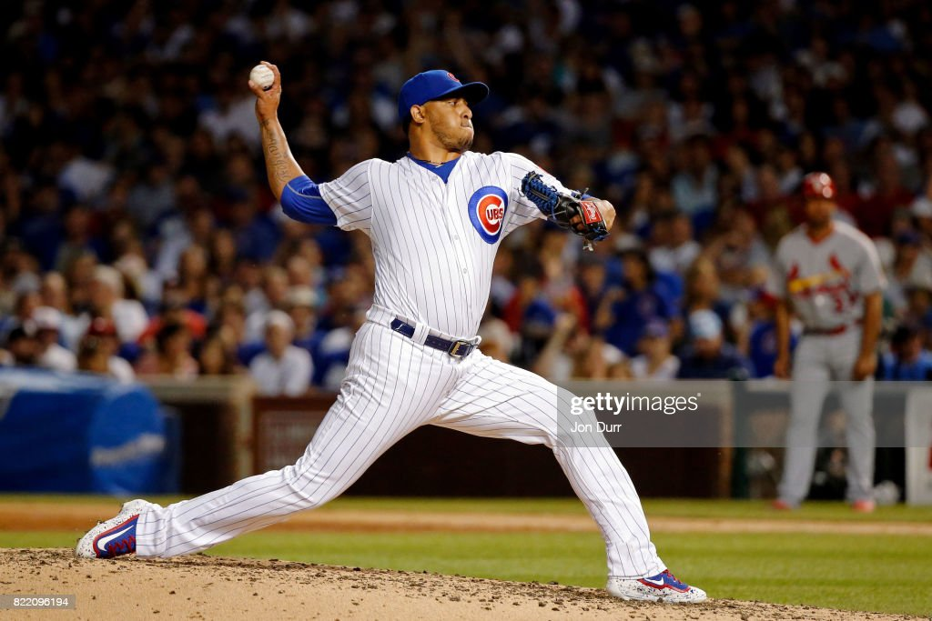 Hector Rondon #56 of the Chicago Cubs pitches against the St. Louis Cardinals during the seventh inning at Wrigley Field on July 23, 2017 in Chicago, Illinois. The Chicago Cubs won 5-3.