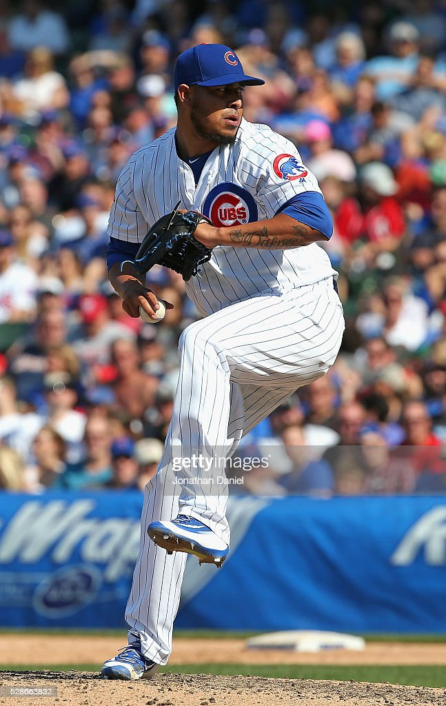 Hector Rondon #56 of the Chicago Cubs pitches in the 9th inning for his fifth save of the season against the Washington Nationals at Wrigley Field on May 6, 2016 in Chicago, Illinois. The Cubs defeated the Nationals 8-6.