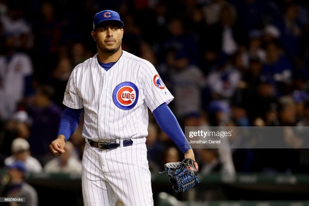 Hector Rondon #56 of the Chicago Cubs reacts in the third inning against the Los Angeles Dodgers during game five of the National League Championship Series at Wrigley Field on October 19, 2017 in Chicago, Illinois.