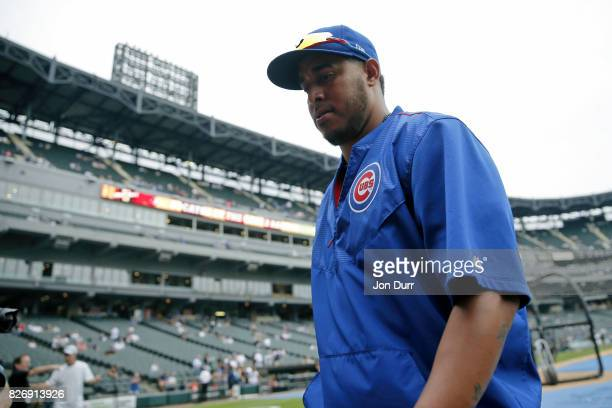 Hector Rondon of the Chicago Cubs walks to the dugout after warming up before the game against the Chicago White Sox at Guaranteed Rate Field on July...