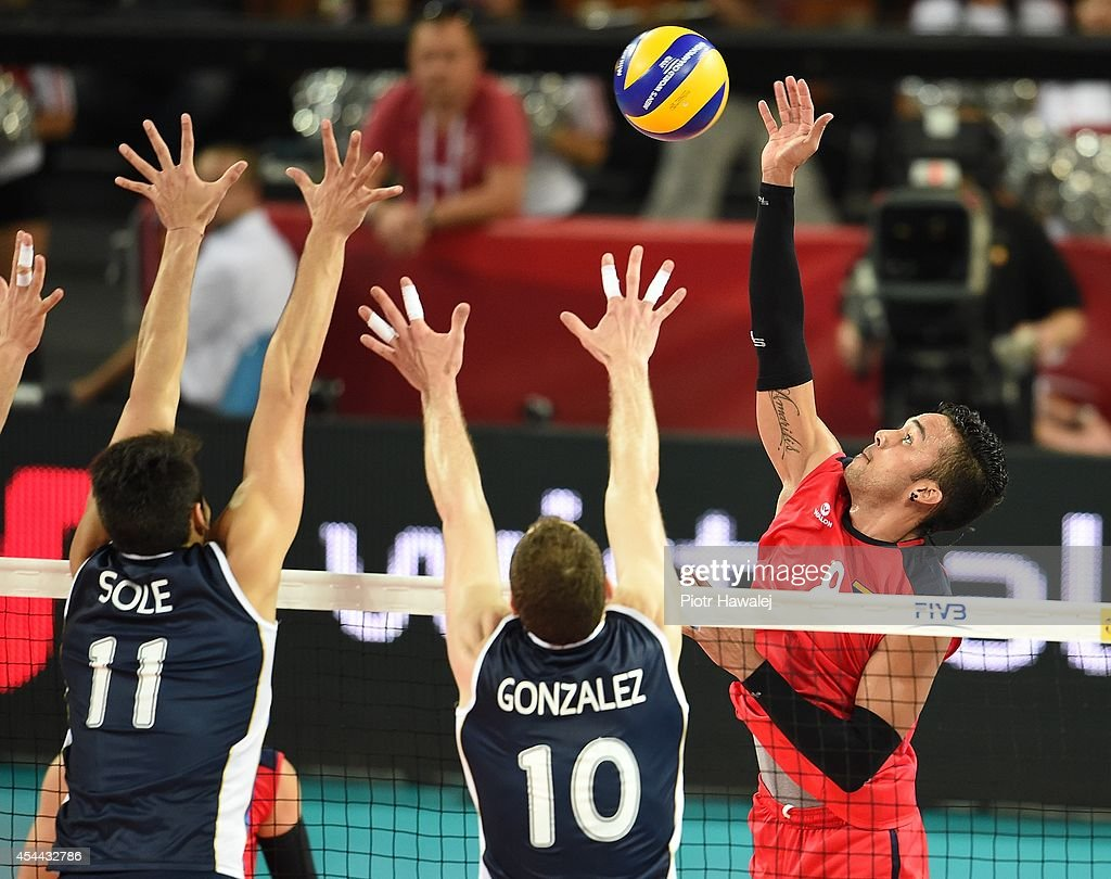 Hector Salerno of Venezuela spikes the ball during the FIVB World Championships match between Venezuela and Argentina on August 31, 2014 in Wroclaw, Poland.