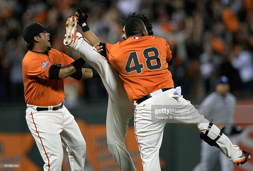 Hector Sanchez #29, <a gi-track='captionPersonalityLinkClicked' href=/galleries/search?phrase=Angel+Pagan&family=editorial&specificpeople=666596 ng-click='$event.stopPropagation()'>Angel Pagan</a> #16 and <a gi-track='captionPersonalityLinkClicked' href=/galleries/search?phrase=Pablo+Sandoval&family=editorial&specificpeople=803207 ng-click='$event.stopPropagation()'>Pablo Sandoval</a> #48 of the San Francisco Giants celebrates after Pagan hit an RBI walk-off single against the San Diego Padres in the ninth inning at AT&T Park on April 19, 2013 in San Francisco, California. The Giants won the game 3-2.