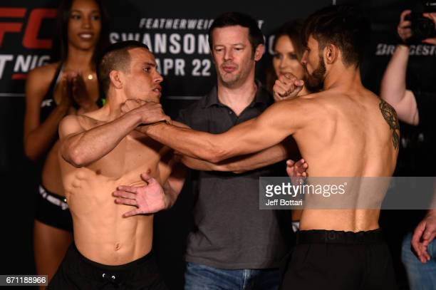 Hector Sandoval of Mexico and Matt Schnell face off during the UFC Fight Night weighin at the Sheraton Music City Hotel on April 21 2017 in Nashville...