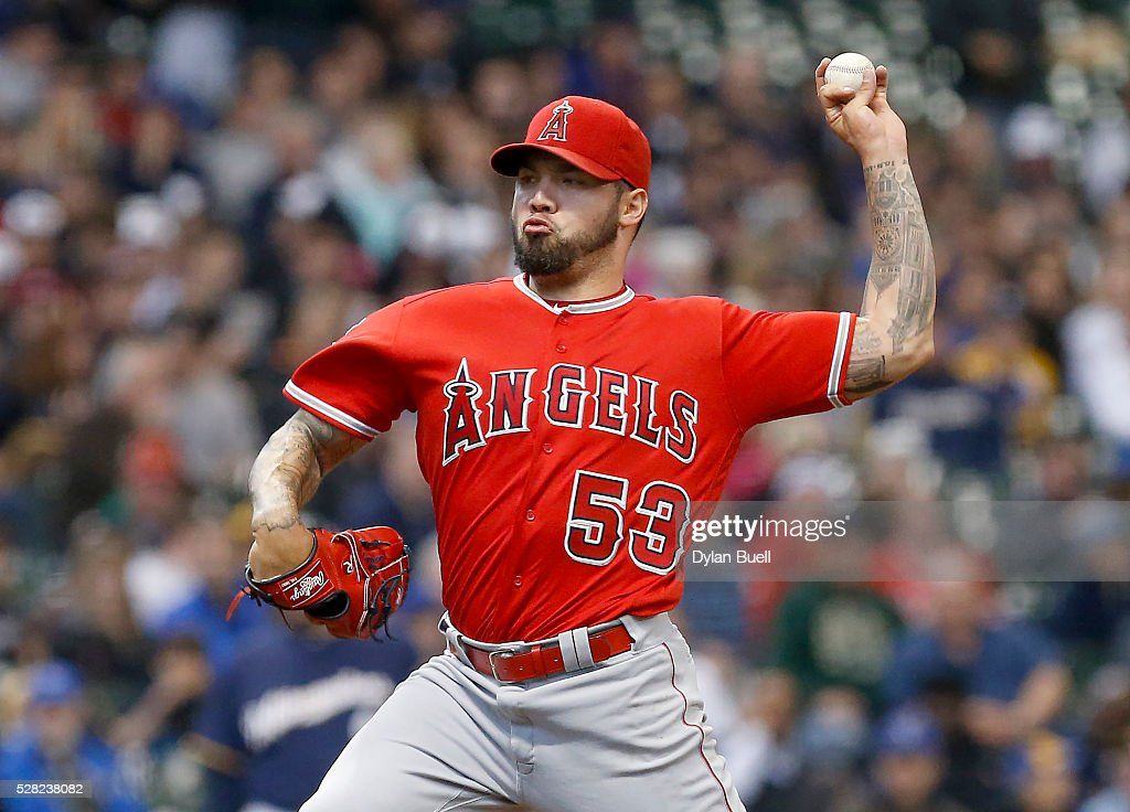 <a gi-track='captionPersonalityLinkClicked' href=/galleries/search?phrase=Hector+Santiago&family=editorial&specificpeople=3329626 ng-click='$event.stopPropagation()'>Hector Santiago</a> #53 of the Los Angeles Angels of Anaheim pitches in the second inning against the Milwaukee Brewers at Miller Park on May 4, 2016 in Milwaukee, Wisconsin.
