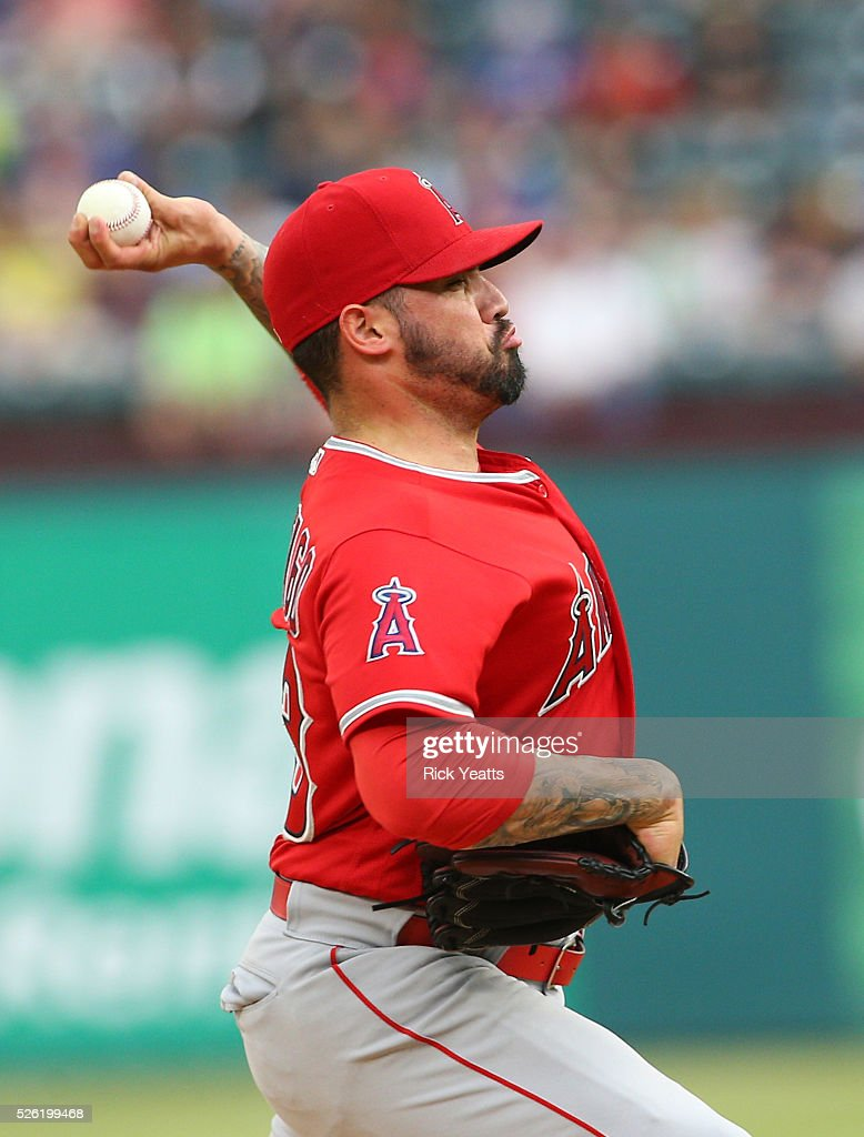 Hector Santiago #53 of the Los Angeles Angels of Anaheim throws in the first inning against Texas Rangers at Global Life Park in Arlington on April 29, 2015 in Arlington, Texas.