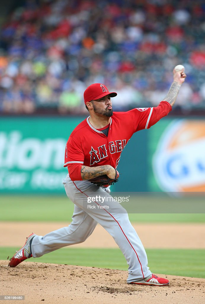 <a gi-track='captionPersonalityLinkClicked' href=/galleries/search?phrase=Hector+Santiago&family=editorial&specificpeople=3329626 ng-click='$event.stopPropagation()'>Hector Santiago</a> #53 of the Los Angeles Angels of Anaheim throws in the first inning against Texas Rangers at Global Life Park in Arlington on April 29, 2015 in Arlington, Texas.