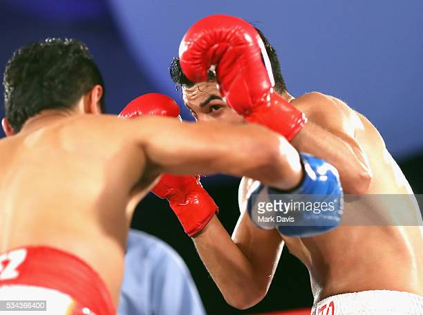Hector Velazquez and Alexis Salazar box at the B Riley Co and Sugar Ray Leonard Foundation's 7th Annual 'Big Fighters Big Cause' Charity Boxing Night...