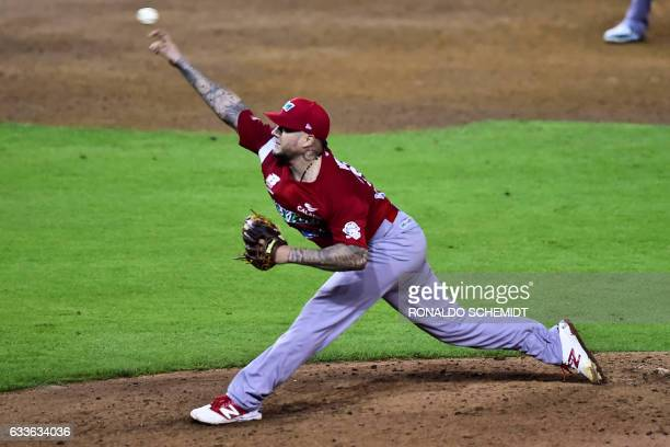 Hector Velazquez of Aguilas de Mexicali from Mexico throws a pitch against Tigres de Licey from the Dominican Republic during their Caribbean...