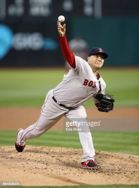 Hector Velazquez of the Boston Red Sox pitches in the third inning during his Major League Baseball debut against the Oakland Athletics at Oakland...
