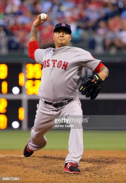 Hector Velazquez of the Boston Red Sox throws a pitch in the third inning during a game against the Philadelphia Phillies at Citizens Bank Park on...