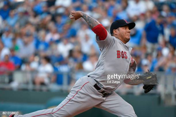 Hector Velazquez of the Boston Red Sox throws against the Kansas City Royals at Kauffman Stadium on June 19 2017 in Kansas City Missouri
