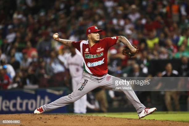 Hector Velazquez pitcher of Mexico pitches during a game between Aguilas del Mexicali of Mexico and Tigres de Licey of Dominican Republic as part of...