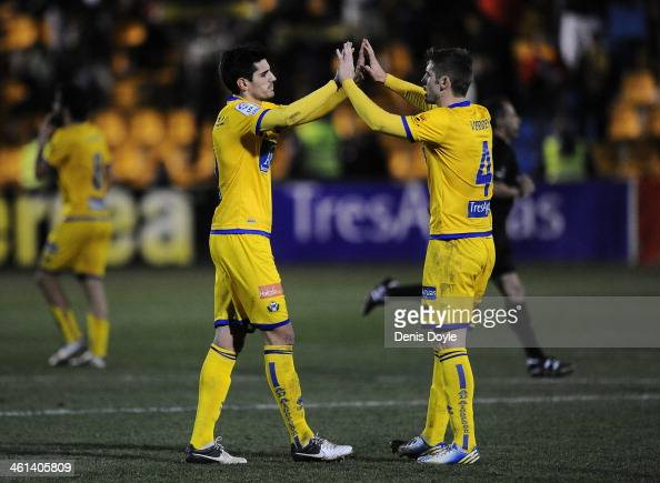 Hector Verdes and Chema of AD Alcorcon celebrate after their team beat Espanyol 10 in the Copa del Rey Round of 16 1st leg match between Alcorcon and...