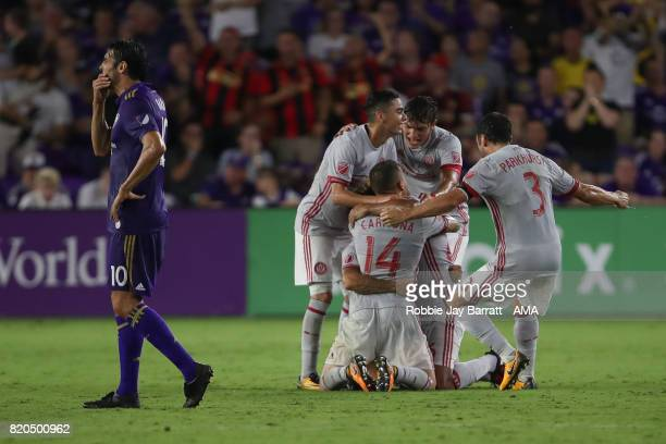 Hector Villalba of Atlanta United celebrates after scoring a goal to make it 01 during the MLS match between Atlanta United and Orlando City at...