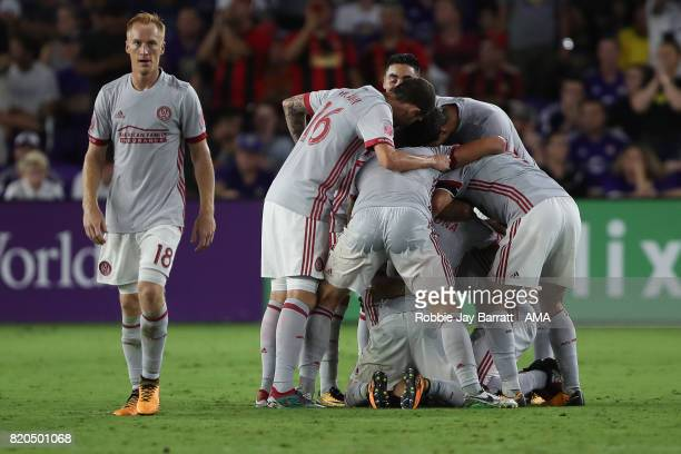 Hector Villalba of Atlanta United celebrates after scoring a goal to make it 01 during the MLS match between Atlanta United and Orlando City at...