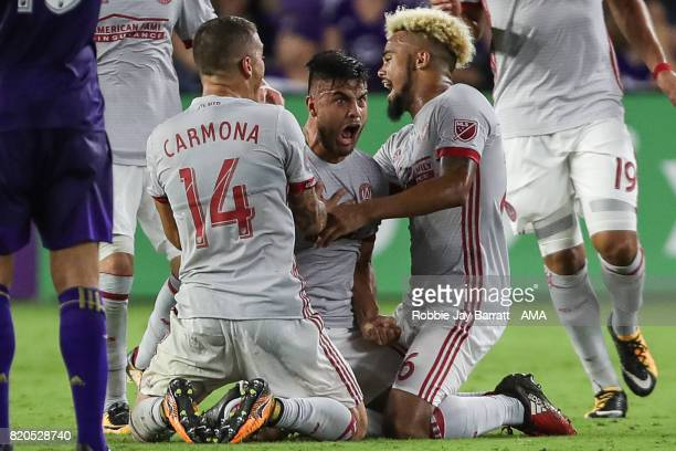 Hector Villalba of Atlanta United celebrates after scoring a goal to make it 10 during the MLS match between Atlanta United and Orlando City at...