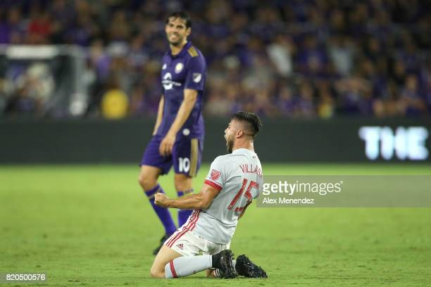 Hector Villalba of Atlanta United celebrates his goal in front of Kaka of Orlando City SC during a MLS soccer match between Atlanta United FC and the...