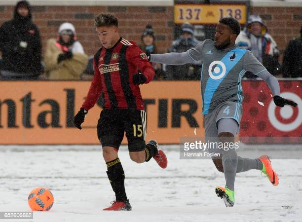Hector Villalba of Atlanta United FC controls the ball against Jermaine Taylor of Minnesota United FC during the second half of the match on March 12...