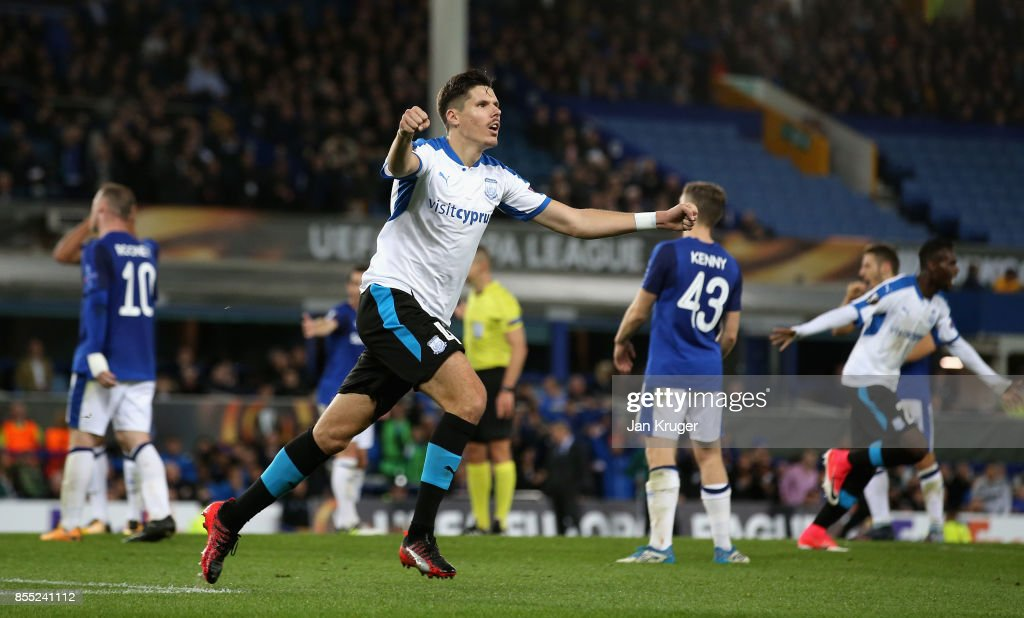 Hector Yuste Canton of Apollon Limassol celebrates after scoring his sides second goal during the UEFA Europa League group E match between Everton FC and Apollon Limassol at Goodison Park on September 28, 2017 in Liverpool, United Kingdom.