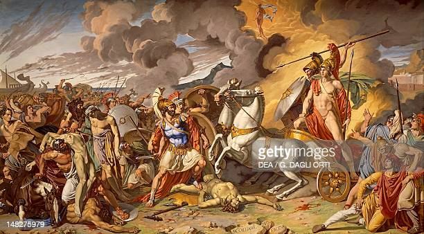 Hector's death and Achilles' triumphant protected by Mars by Antonio Galliano oil on canvas Caserta Reggia Di Caserta Palazzo Reale