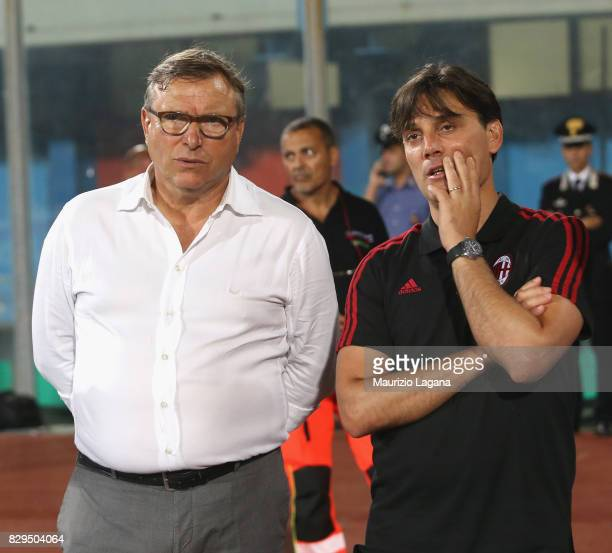Hed coach of Millan Vincenzo Montella with president of Catania Pietro Lo Monaco during the PreSeason Friendly match between AC Milan and Villareal...