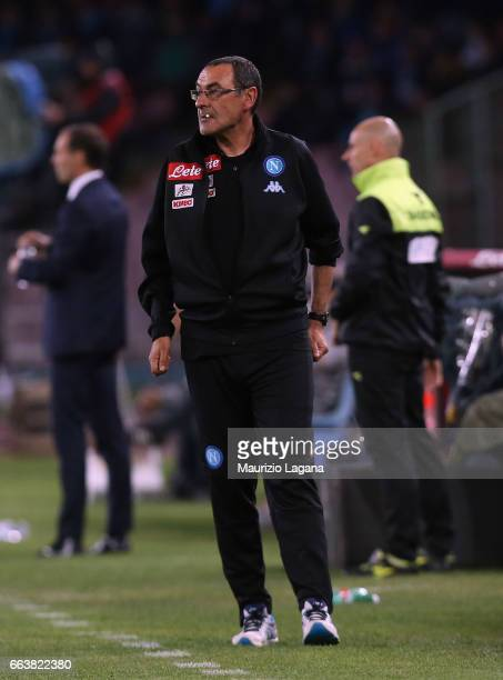 Hed coach of Napoli Maurizio Sarri during the Serie A match between SSC Napoli and Juventus FC at Stadio San Paolo on April 2 2017 in Naples Italy