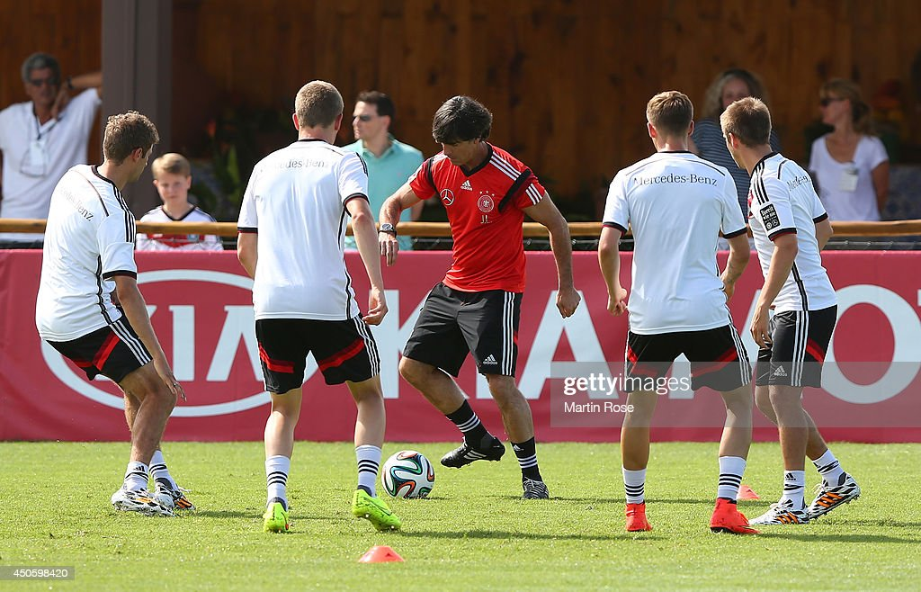 Hed cooach Joachim Loew (R) in action during the German National team training at Campo Bahia on June 14, 2014 in Santo Andre, Brazil.