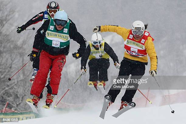 Hedda Berntsen of Norway leads through a turn in front of Jenny Owens of Australia Kelsey Serwa of Canada and Rocia Delgado of Spain during the Men's...