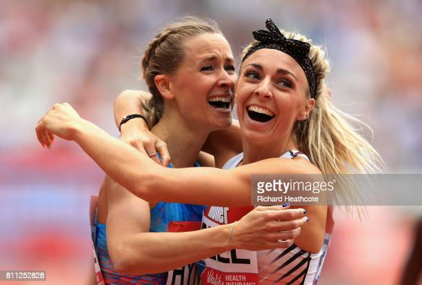 Hedda Hynne of Great Britain and Alexandra Bell of Great Britain celebrate together after the womens 800m race during the Muller Anniversary Games at...