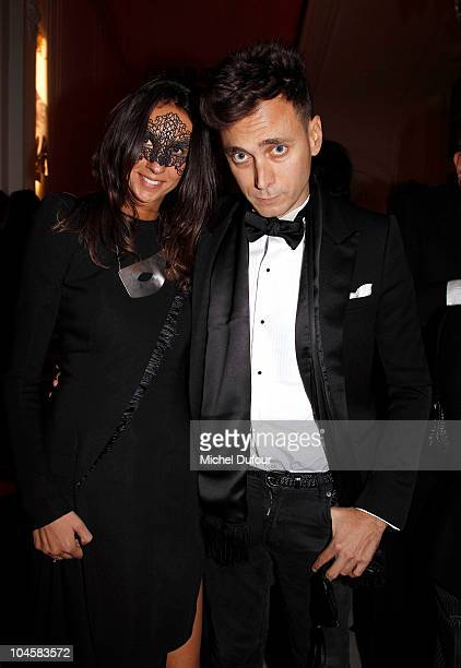 Hedi Sliman and guest attend Vogue 90th Anniversary Party as part of Ready to Wear Spring/Summer 2011 Paris Fashion Week at Hotel Pozzo di Borgo on...