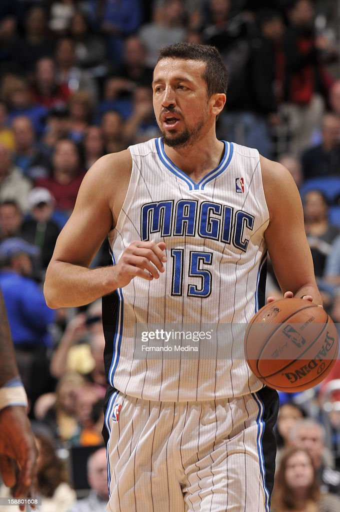 Hedo Turkoglu #15 of the Orlando Magic brings the ball up the floor against the Toronto Raptors. This is Hedo's first game back after missing 28 games due to a hand injury . On December 29, 2012 at Amway Center in Orlando, Florida.