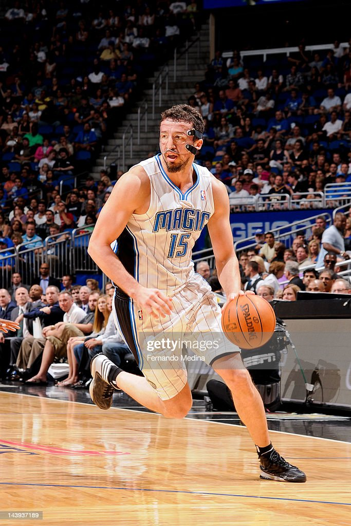 <a gi-track='captionPersonalityLinkClicked' href=/galleries/search?phrase=Hedo+Turkoglu&family=editorial&specificpeople=201639 ng-click='$event.stopPropagation()'>Hedo Turkoglu</a> #15 of the Orlando Magic controls the ball against the Indiana Pacers in Game Four of the Eastern Conference Quarterfinals during the 2012 NBA Playoffs on May 5, 2012 at Amway Center in Orlando, Florida.