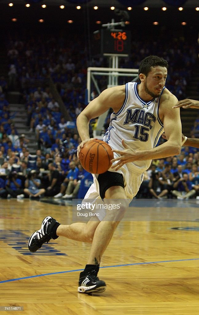 Hedo Turkoglu #15 of the Orlando Magic drives to the basket against the Detroit Pistons in Game Three of the Eastern Conference Quarterfinals during the 2007 NBA Playoffs at Amway Arena on April 26, 2007 in Orlando, Florida. The Pistons won 93-77.