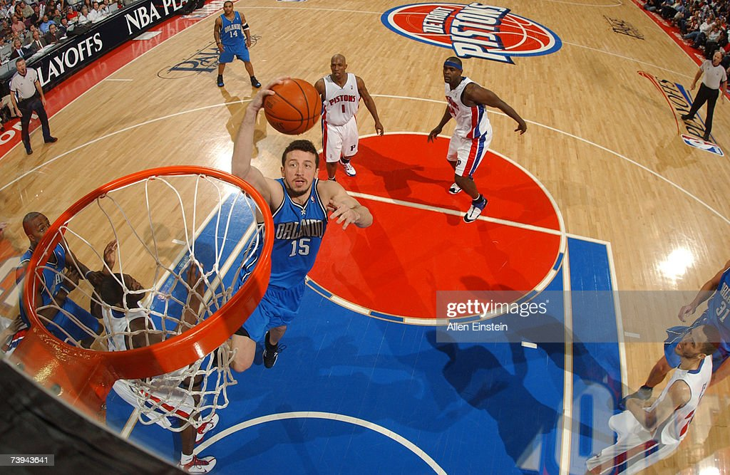 Hedo Turkoglu #15 of the Orlando Magic goes for a layup past Chauncey Billups #1 of the Detroit Pistons in Game One of the Eastern Conference Quarterfinals during the 2007 NBA Playoffs at the Palace of Auburn Hills April 21, 2007 in Auburn Hills, Michigan.