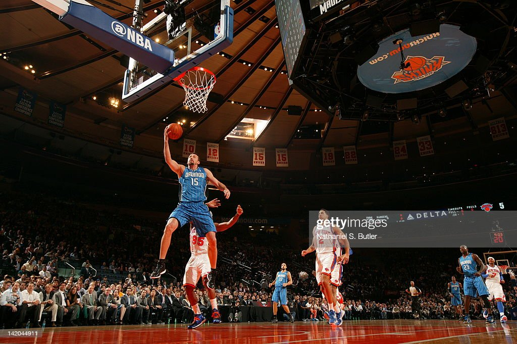 <a gi-track='captionPersonalityLinkClicked' href=/galleries/search?phrase=Hedo+Turkoglu&family=editorial&specificpeople=201639 ng-click='$event.stopPropagation()'>Hedo Turkoglu</a> #15 of the Orlando Magic goes to the basket during the game against the New York Knicks on March 28, 2012 at Madison Square Garden in New York City.