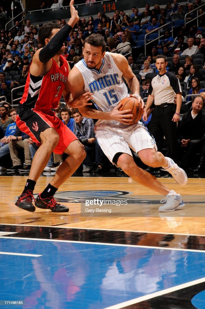 <a gi-track='captionPersonalityLinkClicked' href=/galleries/search?phrase=Hedo+Turkoglu&family=editorial&specificpeople=201639 ng-click='$event.stopPropagation()'>Hedo Turkoglu</a> #15 of the Orlando Magic handles the ball against the Toronto Raptors on December 29, 2012 at Amway Center in Orlando, Florida.