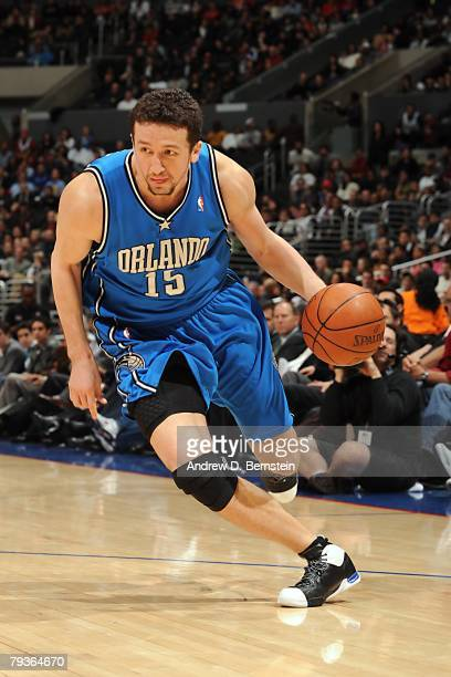 Hedo Turkoglu of the Orlando Magic moves the ball during the NBA game against the Los Angeles Clippers at Staples Center on January 9 2008 in Los...